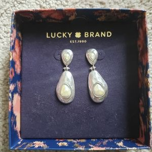 Lucky Brand Silver and Pearl Dangle Earrings NEW!